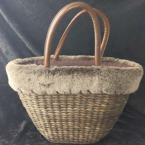 Rattan and faux fur boho tote bag